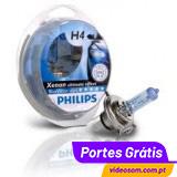 PHILIPS BLUE VISION ULTRA H4 + W5W ( 4 Lâmpadas )