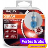 Osram H4 12v 55w Night Breaker Laser +130 %  ( 2 Bulbs )