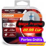Osram H4 12v 55w Night Breaker Laser +130 %  ( 2 Bulbs )