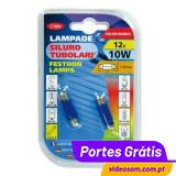 Lâmpada Tubular 12v 10w Azul ( Pack 2Unid. )